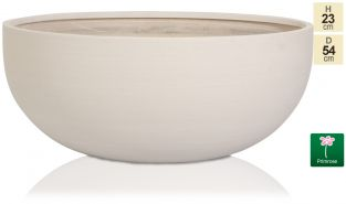D54cm Light Polystone Extra Large Bowl Planter in White