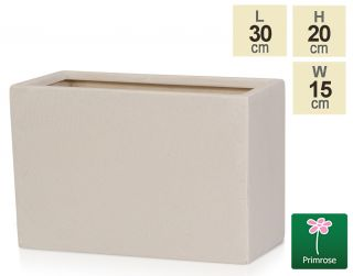 L30cm Light Polystone Small Trough Pot in White