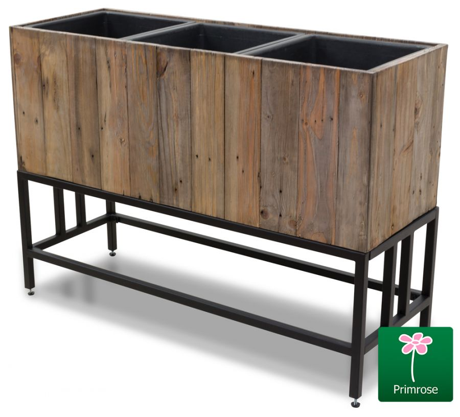 L93.5cm Fitzgerald Wooden 3-Part Trough with Metal Legs - by Primrose™