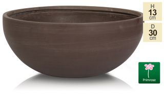 D30cm Small Brown Light Polystone Bowl Pot - By Primrose™