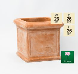 D26cm Small Terracotta Cube Planter