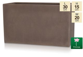 L30cm Small Brown Polystone Trough Pot - By Primrose™