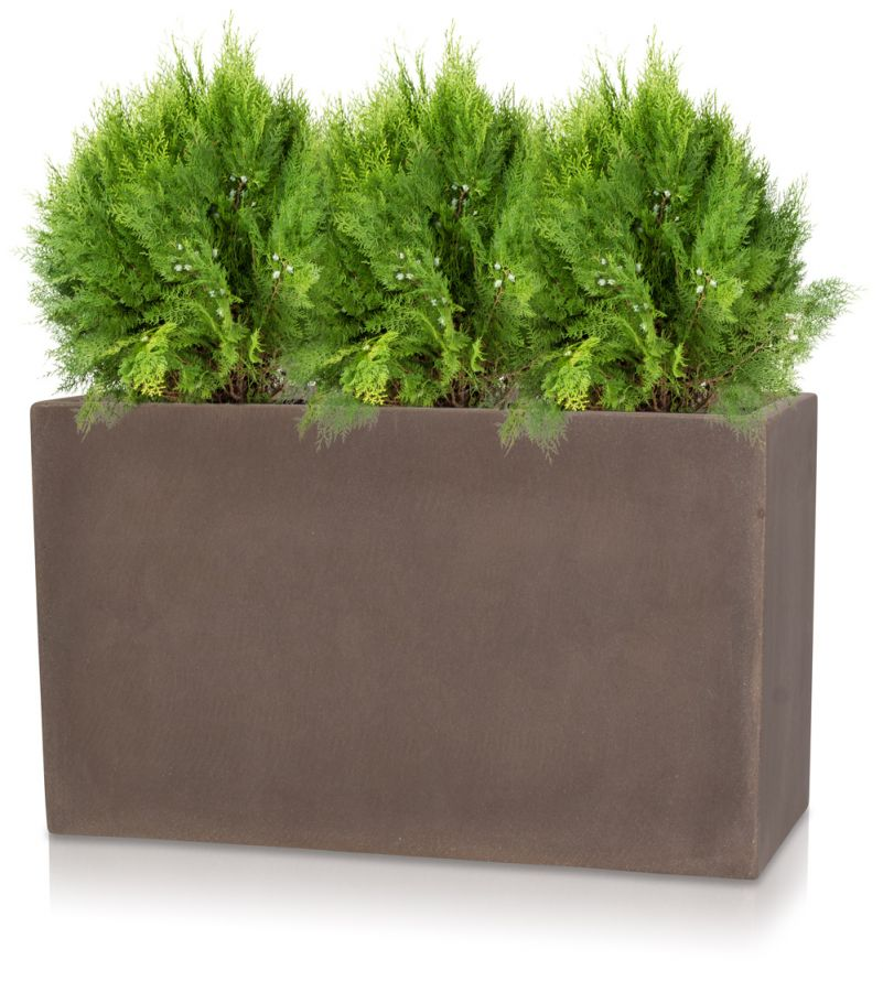 Large Corner L Shaped Wooden Garden Planter Box Trough: L50cm Large Brown Polystone Trough Planter