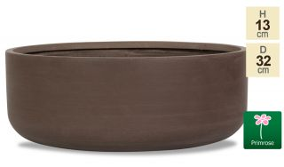 D32cm Small Brown Polystone Bowl Planter - By Primrose™