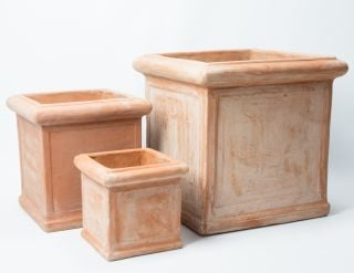 Terracotta Cube Planters - Mixed Set of 3 - H26/37/50cm