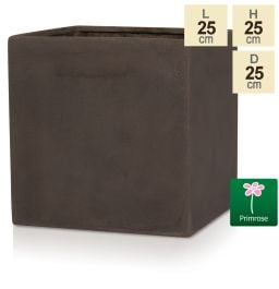 H25cm Small Brown Polystone Cube Pot - By Primrose™