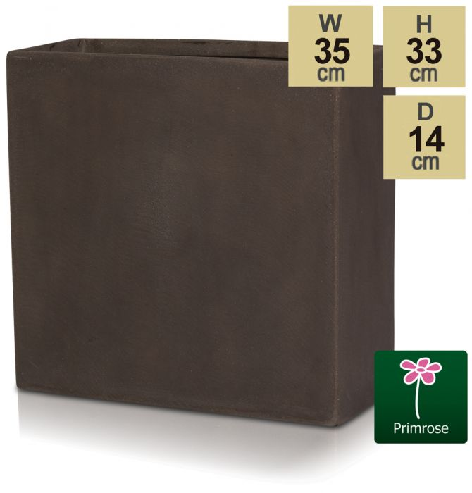 H33cm Large Brown Polystone Tall Trough Planter - By Primrose™