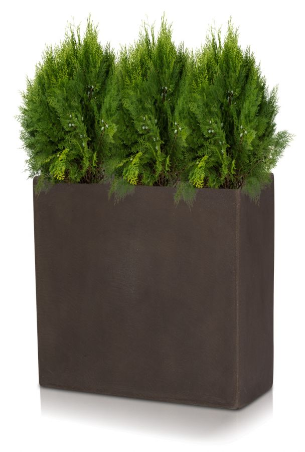H33cm Large Brown Polystone Tall Trough Planter By