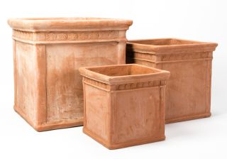 Light Terracotta Cube Planters - Mixed Set of 3 - H30/40/50cm