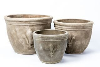 Stone Terracotta Planters with Fleur De Lis - Mixed Set of 3 - D30/38/47cm