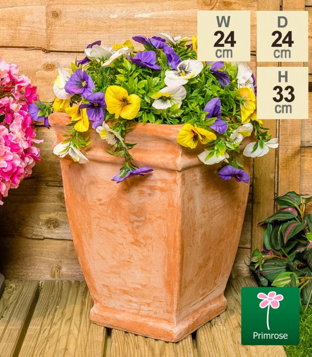 H33cm Terracotta Small Tapered Cube Planter