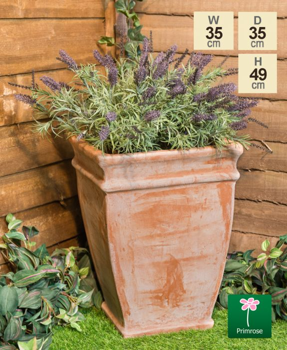 H49cm Terracotta Tapered Cube Planter