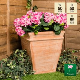 H59cm Terracotta Tapered Cube Planter