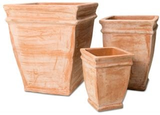 Terracotta Tapered Cube Planters - Mixed Set of 3 - 33/49/59cm