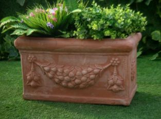 D54cm Small Terracotta Trough With Detail