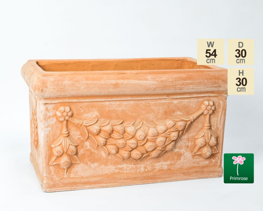 W54cm Small Terracotta Trough With Detail