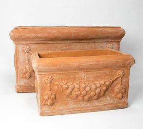 Terracotta Troughs With Detail - Mixed Set of 2 - 54/80cm