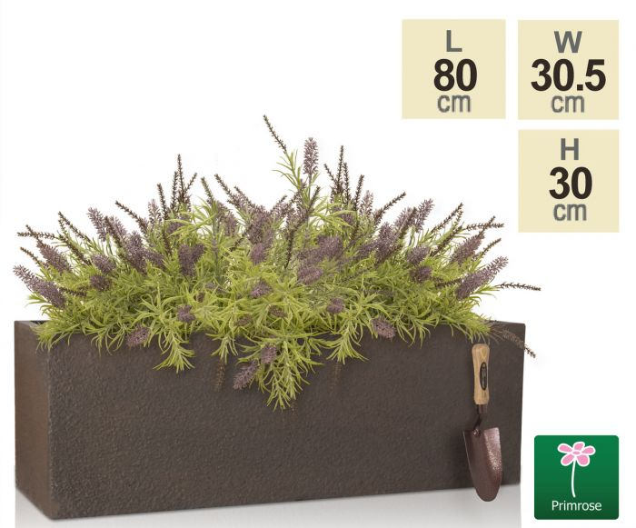 L80cm Large Rust Effect Sandstone Finish Fiberclay Trough Planter