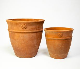 Round Terracotta Planters - Mixed Set of 2 - D27/36cm