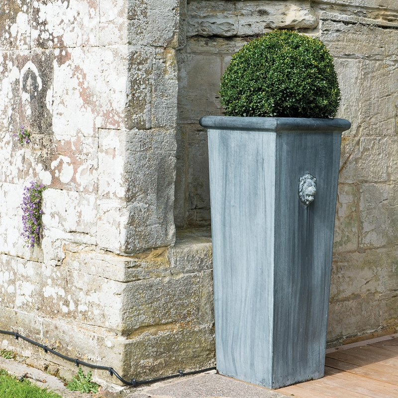 H90cm Lion Head Tall Galvanised Zinc Planter