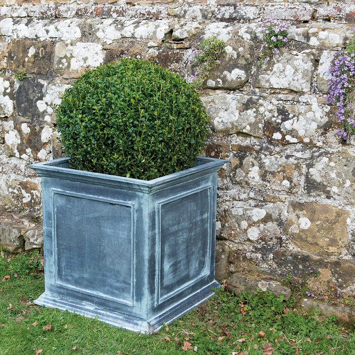 H60cm Large Galvanised Zinc Square English Planter