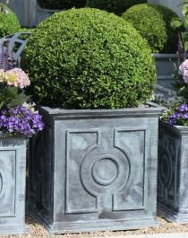 H60cm Large Galvanised Zinc Square Belgian Circle Planter