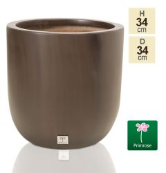H34cm Fibreglass Round Planter in Brown - by Primrose™