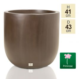 H41cm Fibreglass Round Planter in Brown - by Primrose™