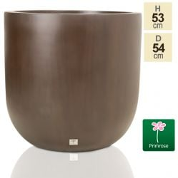 H52cm Fibreglass Round Planter in Brown - by Primrose®