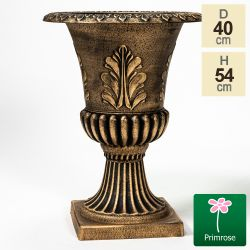 40cm Embossed Roman Urn Planter in Gold by Primrose™