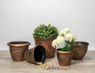 Eclectic Roman Planter Collection in Gold - Set of Three