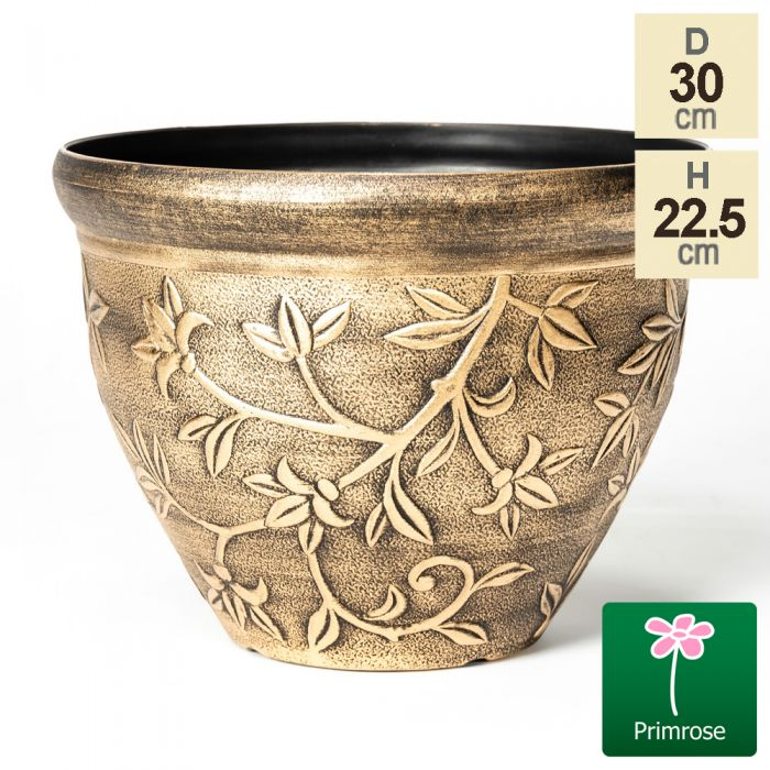 30cm Leaf Embossed Roman Pot in Gold by Primrose™