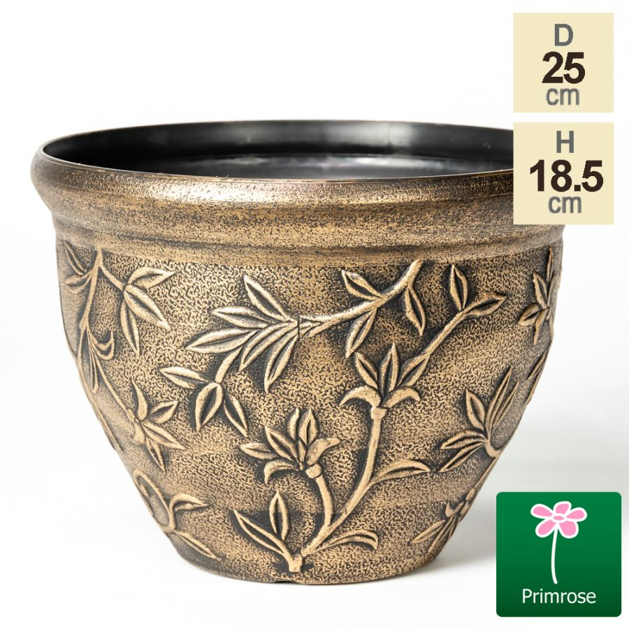 25cm Leaf Embossed Roman Pot in Gold by Primrose™
