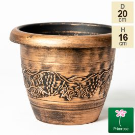 20cm Vine Embossed Roman Planter in Copper by Primrose™