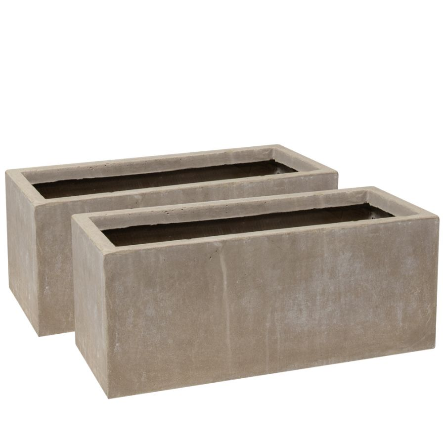 50cm Fibrecotta Cement Finish Trough Planters - Set of 2