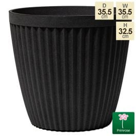35.5cm Round Patterned Matt Black Planter