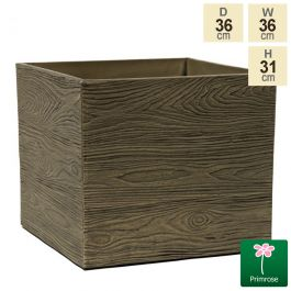 36cm Cube Rustic Wood Planter