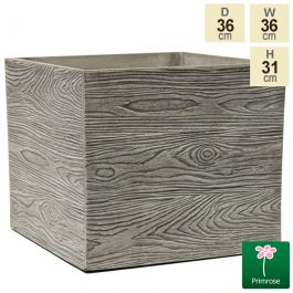 36cm Cube Grey Wood Planter