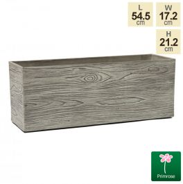 54.5cm Trough Grey Wood Planter