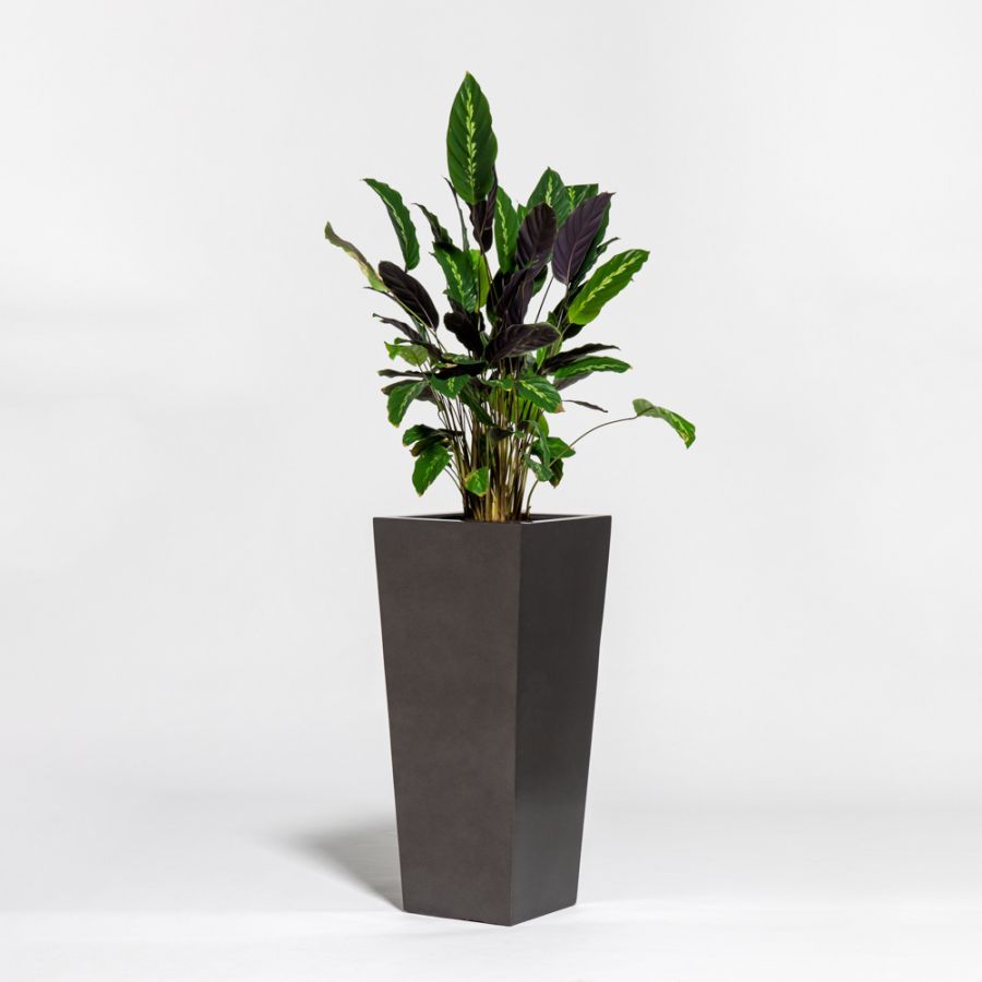75cm Metallic Grey Polystone Tall Flared Planter