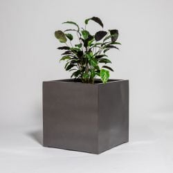 60cm Metallic Grey Polystone Cube Planter