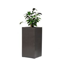80cm Metallic Grey Polystone Tall Cubic Planter