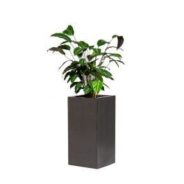 60cm Metallic Grey Polystone Tall Cubic Planter