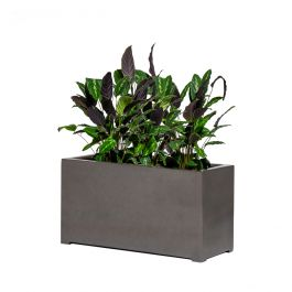 80cm Metallic Grey Polystone Trough Planter