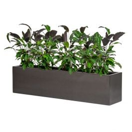 150cm Metallic Grey Polystone Low Trough Planter