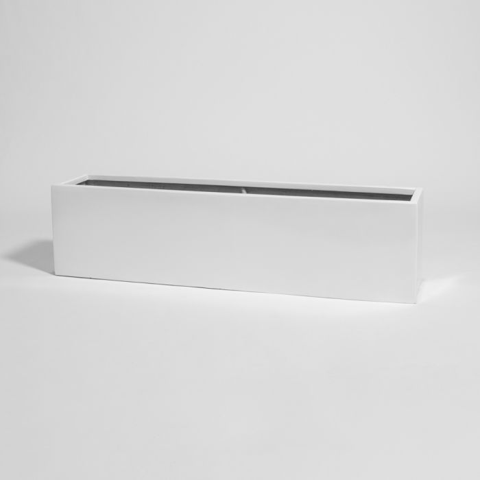 120cm White Gloss Polystone Low Trough Planter