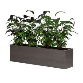120cm Metallic Grey Polystone Low Trough Planter