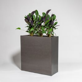 80cm Metallic Grey Polystone High Trough Planter