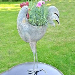 Metal Decorative Cockerel Planter