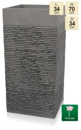 H70cm Large Light Grey Fibrecotta Brick Design Tower Planter - By Primrose™